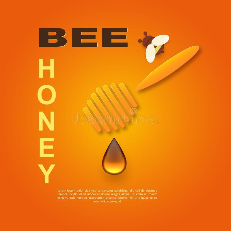 Έγγραφο που κόβεται όπως μια μέλισσα με τις κηρήθρες Πρότυπο σχεδίου για τη μελισσοκομία και τη διαφήμιση μελιού Πορτοκαλί υπόβαθ απεικόνιση αποθεμάτων