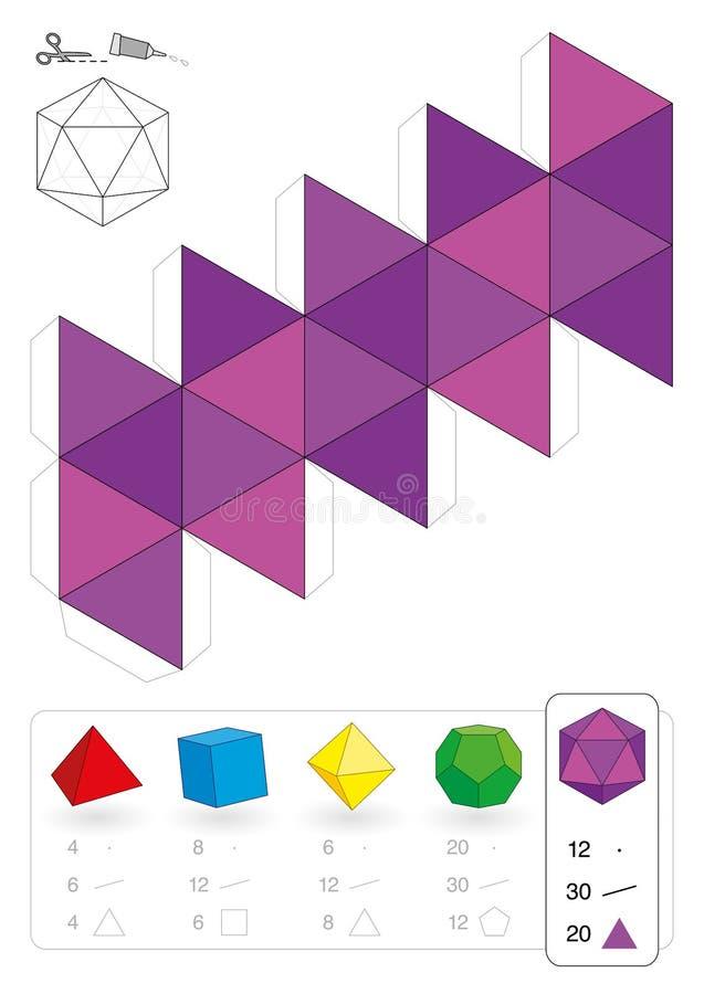 Έγγραφο πρότυπο Icosahedron διανυσματική απεικόνιση