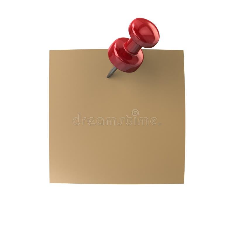 Έγγραφο σημειώσεων με την καρφωμένη κόκκινη καρφίτσα ώθησης απεικόνιση αποθεμάτων