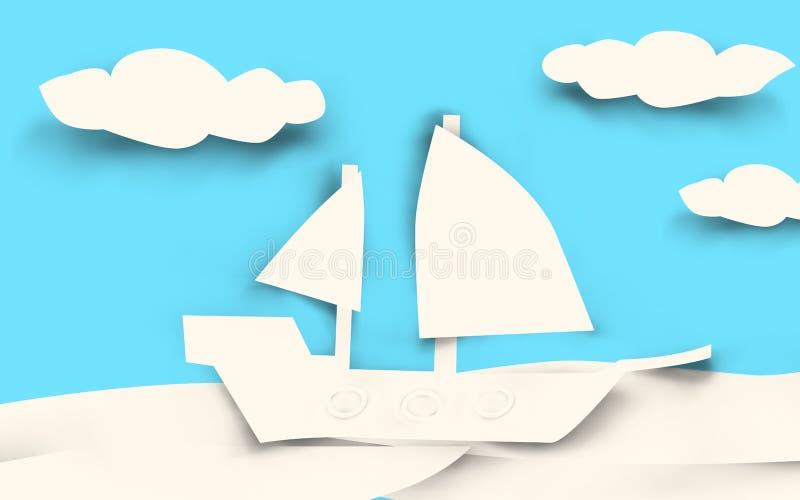 Έγγραφο σκαφών που κόβεται - λευκό ελεύθερη απεικόνιση δικαιώματος