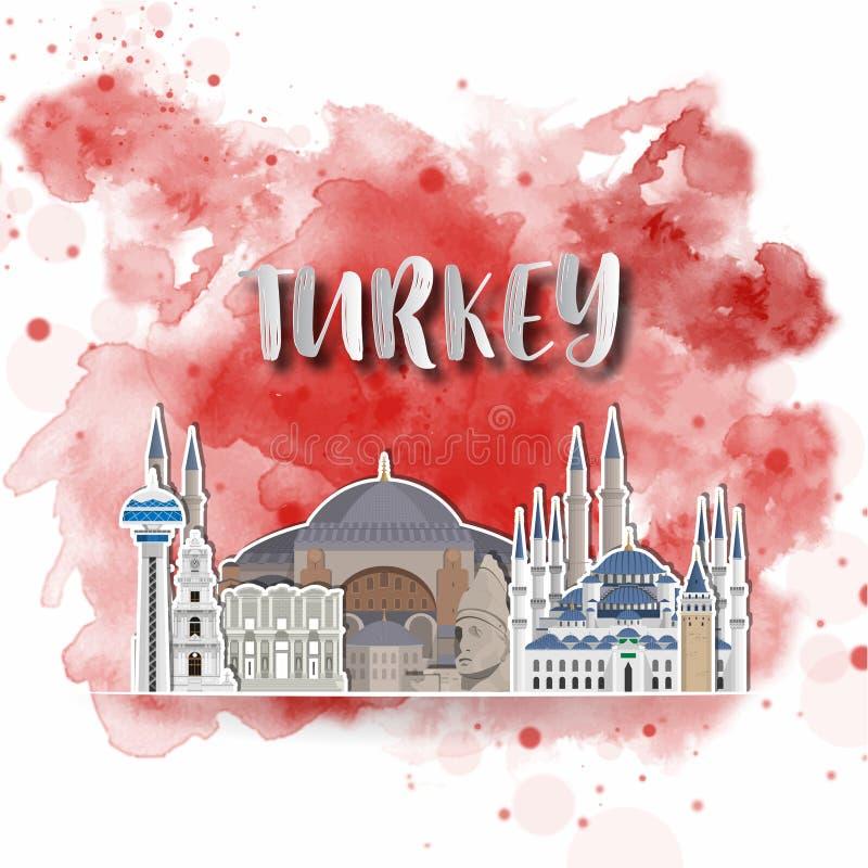 Έγγραφο σκιαγραφιών της Τουρκίας στο watercolor παφλασμών στο χρώμα της σφαιρικής σημαίας Διανυσματικό πρότυπο σχεδίου χρήση για  απεικόνιση αποθεμάτων