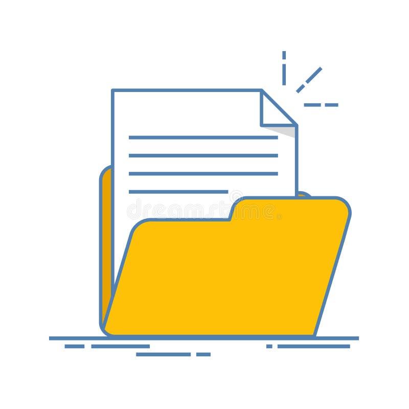 Έγγραφο στο εικονίδιο φακέλλων Φύλλο εγγράφου με το αφηρημένο κείμενο Επίπεδη απεικόνιση γραμμών που απομονώνεται στο άσπρο υπόβα απεικόνιση αποθεμάτων