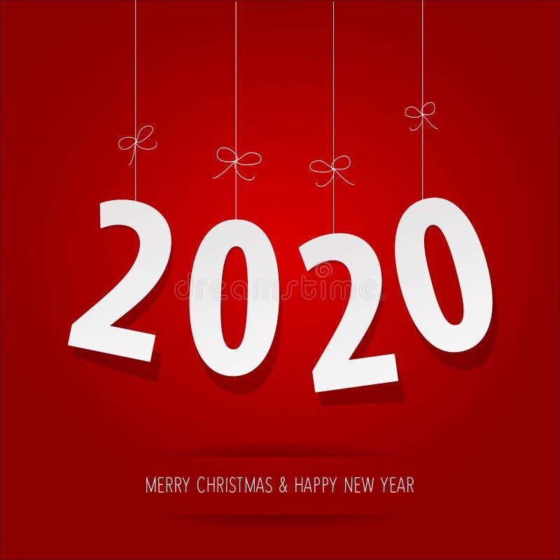 Έγγραφο 2020 ψηφία σε ένα κόκκινο υπόβαθρο ελεύθερη απεικόνιση δικαιώματος