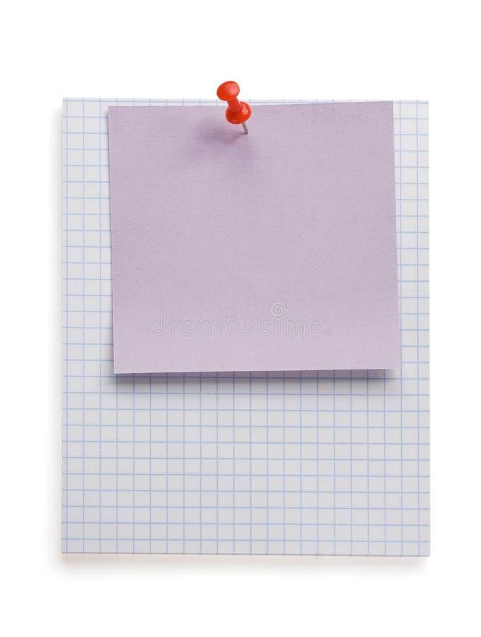 Έγγραφο Pushpin και σημειώσεων για το λευκό στοκ εικόνα