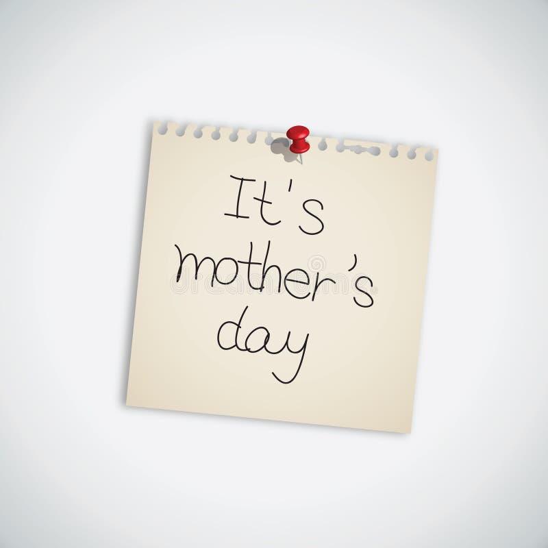 έγγραφο s σημειώσεων μητέρων ημέρας διανυσματική απεικόνιση