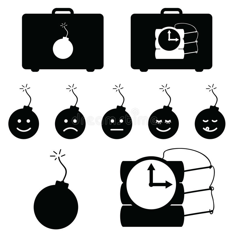 έγκαυμα βομβών που τίθεται με την αντίστροφη μέτρηση στη μαύρη έγχρωμη εικονογράφηση διανυσματική απεικόνιση