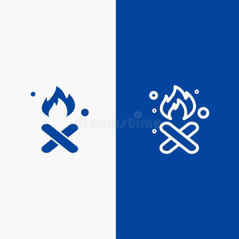 Έγκαυμα, πυρκαγιά, απορρίματα, ρύπανση, γραμμή καπνού και στερεά γραμμή εμβλημάτων εικονιδίων Glyph μπλε και στερεό μπλε έμβλημα  ελεύθερη απεικόνιση δικαιώματος