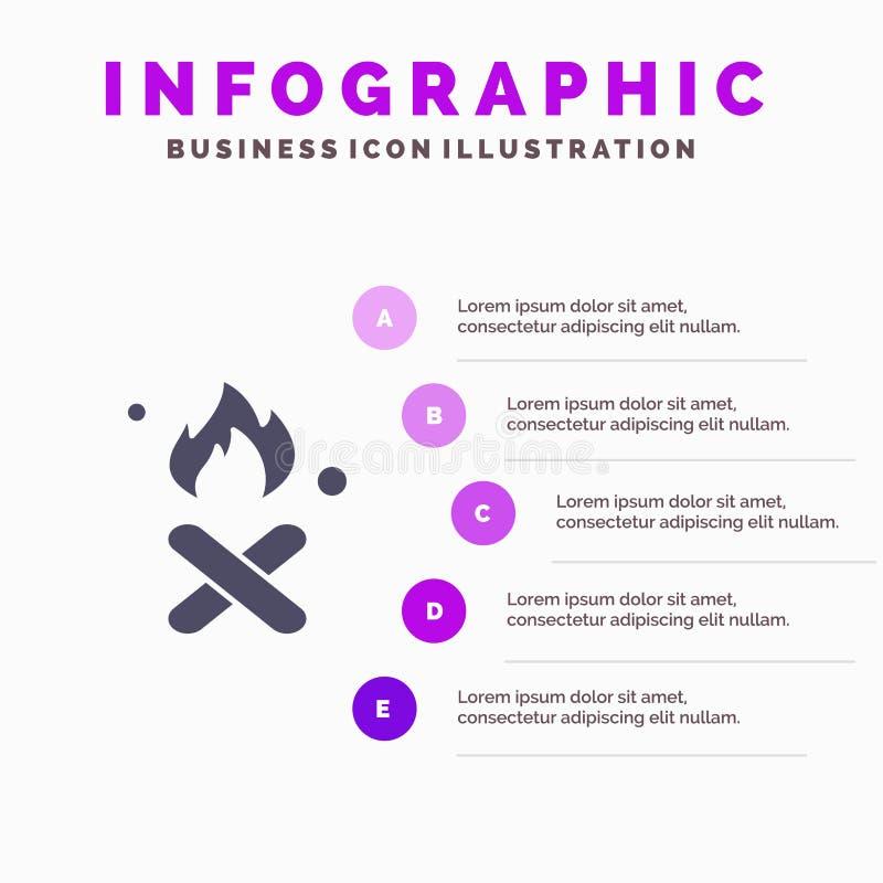 Έγκαυμα, πυρκαγιά, απορρίματα, ρύπανση, στερεό εικονίδιο Infographics 5 καπνού υπόβαθρο παρουσίασης βημάτων απεικόνιση αποθεμάτων
