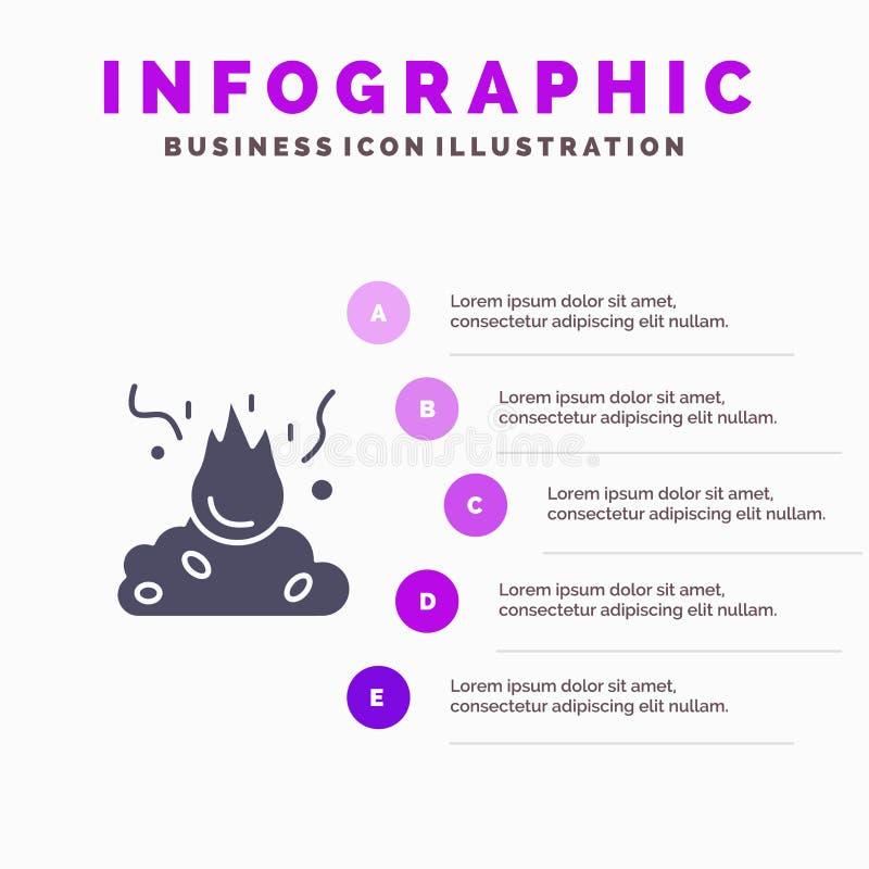 Έγκαυμα, πυρκαγιά, απορρίματα, ρύπανση, στερεό εικονίδιο Infographics 5 καπνού υπόβαθρο παρουσίασης βημάτων ελεύθερη απεικόνιση δικαιώματος