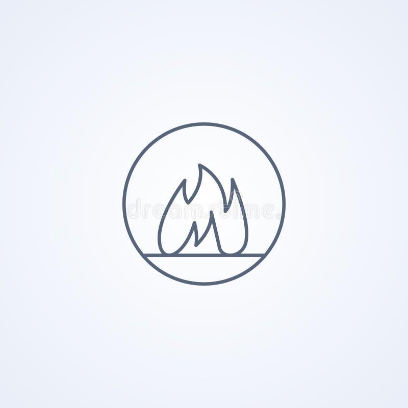 Έγκαυμα, πυρκαγιά, διανυσματικό καλύτερο γκρίζο εικονίδιο γραμμών διανυσματική απεικόνιση