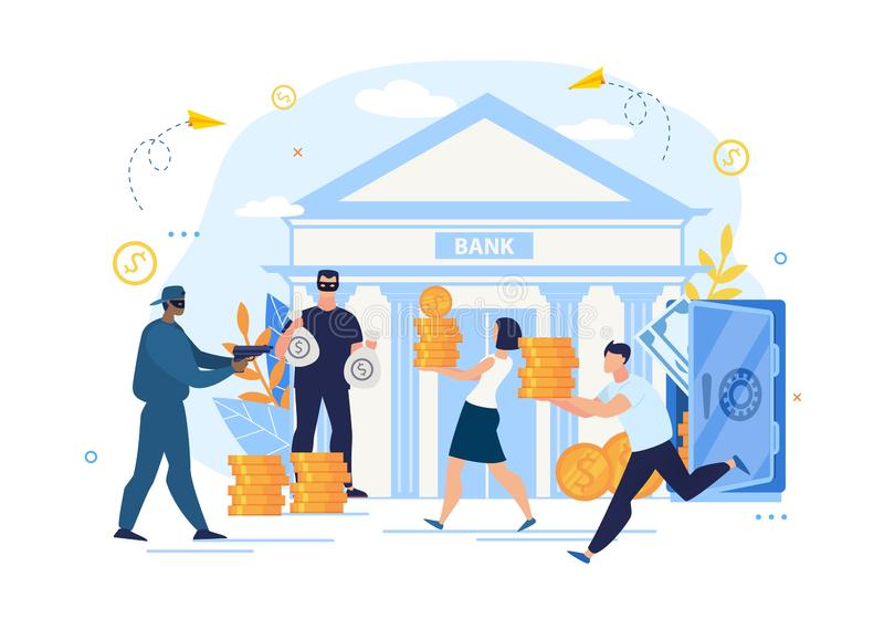 Έγκλημα ληστείας τραπεζών και κακή προστασία αποθήκευσης διανυσματική απεικόνιση