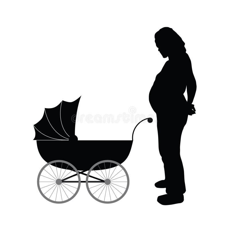 Έγκυοι γυναίκες με τη διανυσματική απεικόνιση μεταφορών μωρών ελεύθερη απεικόνιση δικαιώματος