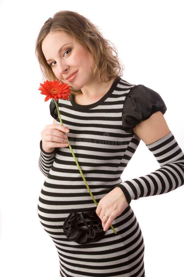 Έγκυοι γυναίκες με το λουλούδι στοκ φωτογραφία