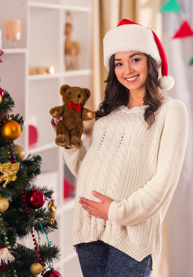 Έγκυος γιορτάστε τα Χριστούγεννα στοκ φωτογραφίες με δικαίωμα ελεύθερης χρήσης