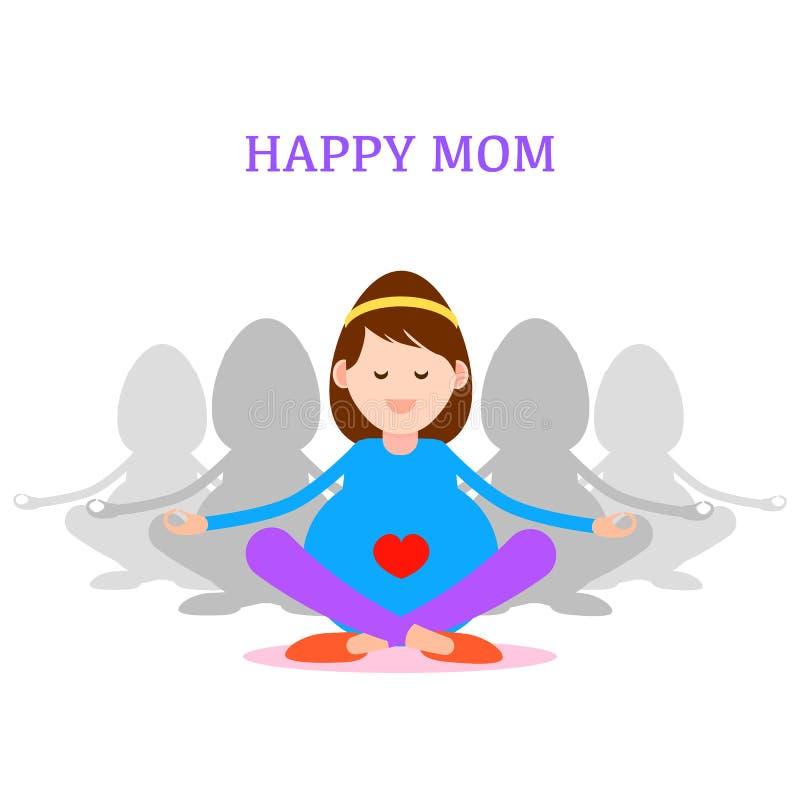 Έγκυος γυναίκα, ευτυχής έννοια mom, περισυλλογή και γιόγκα για το pregn διανυσματική απεικόνιση