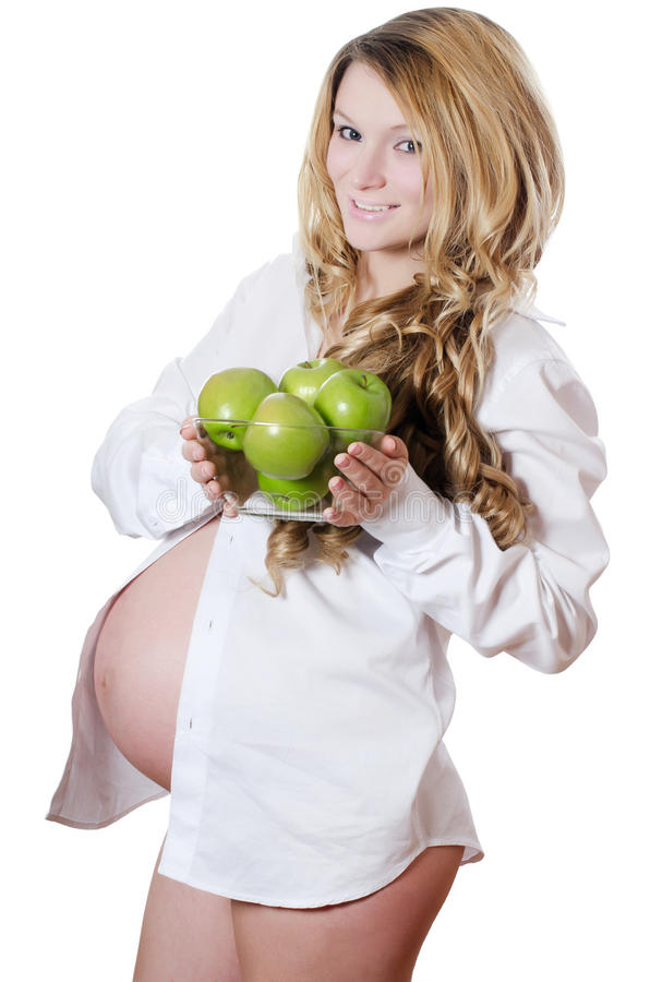 έγκυος γυναίκα μήλων στοκ εικόνες με δικαίωμα ελεύθερης χρήσης