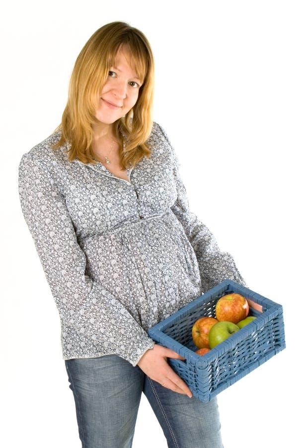 έγκυος γυναίκα μήλων στοκ φωτογραφία με δικαίωμα ελεύθερης χρήσης