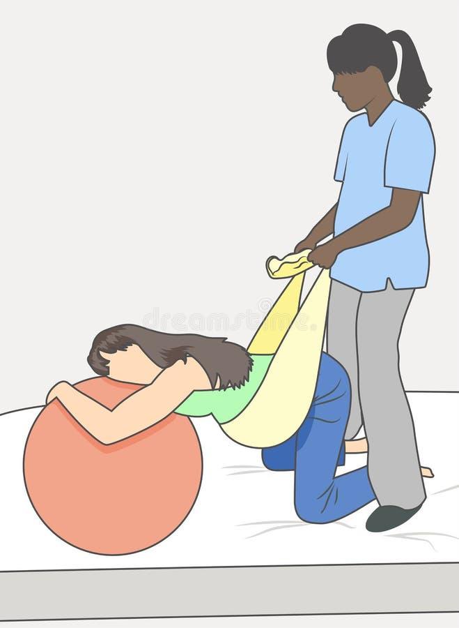 Έγκυος γυναίκα με το ενισχυτικές μωρό & τη μητέρα νοσοκόμων με την πετσέτα ελεύθερη απεικόνιση δικαιώματος