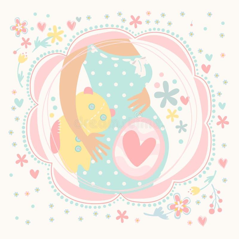 Έγκυος γυναίκα με το μωρό μέσα, ευτυχές παιδί ελεύθερη απεικόνιση δικαιώματος