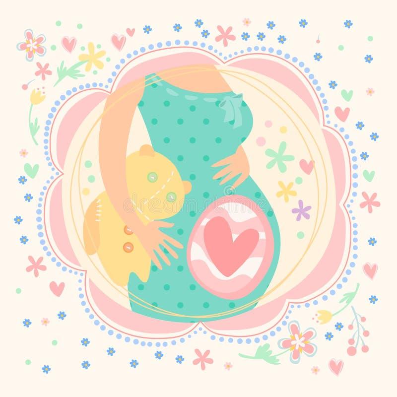 Έγκυος γυναίκα με το μωρό μέσα, ευτυχές παιδί απεικόνιση αποθεμάτων