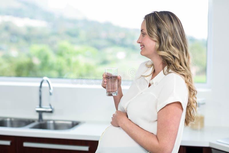 Έγκυος γυναίκα που πίνει ένα ποτήρι του νερού στοκ εικόνες με δικαίωμα ελεύθερης χρήσης