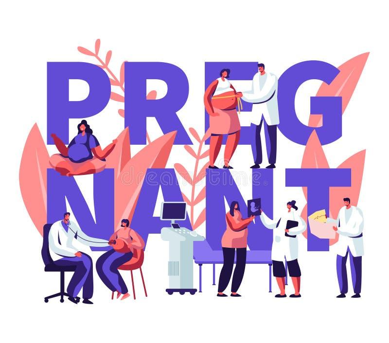 Έγκυος γυναίκα στο διορισμό γιατρών στην έννοια κλινικών Ιατρικός έλεγχος επάνω, υγιής εγκυμοσύνη, υγειονομική περίθαλψη, υπέρηχο διανυσματική απεικόνιση