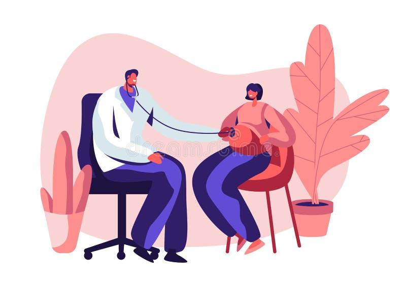 Έγκυος γυναίκα στο διορισμό γιατρών στην κλινική Αρσενικό τεθειμένο ήττα στηθοσκόπιο καρδιών μωρών ακούσματος χαρακτήρα γιατρών σ διανυσματική απεικόνιση
