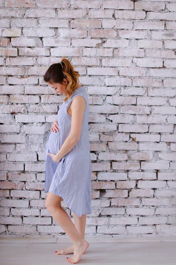 Έγκυος γυναίκα του Σηάν cauca Ευρωπαία που φορά το μπλε φόρεμα που στέκεται στο υπόβαθρο τουβλότοιχος και που κρατά την κοιλιά στοκ φωτογραφία με δικαίωμα ελεύθερης χρήσης