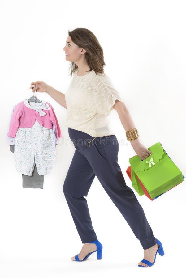 Έγκυος γυναίκα Shopaholic στοκ φωτογραφία με δικαίωμα ελεύθερης χρήσης