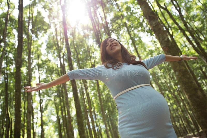 Έγκυος νέα γυναίκα που απολαμβάνει το δάσος με τις ανοικτές αγκάλες στοκ φωτογραφίες