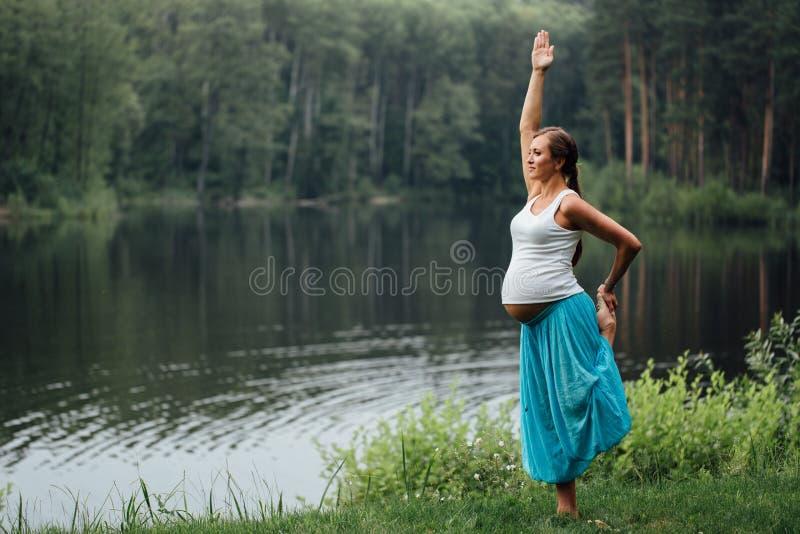 Έγκυος προγενέθλια μητρότητα γιόγκας που κάνει τις διαφορετικές ασκήσεις στο πάρκο στη χλόη, αναπνοή, τέντωμα, στατική στοκ εικόνες