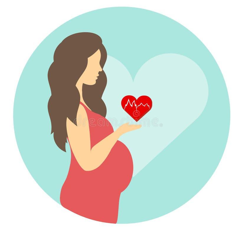 Έγκυο κορίτσι με μια κοιλιά σε ένα κόκκινο φόρεμα με μια καρδιά ελεύθερη απεικόνιση δικαιώματος