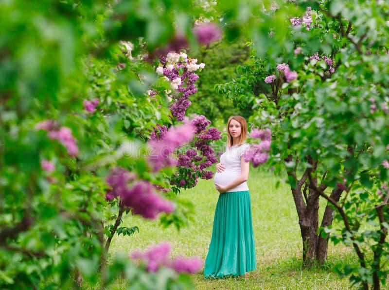 Έγκυο κορίτσι στο θερινό πάρκο υπαίθρια στοκ φωτογραφίες