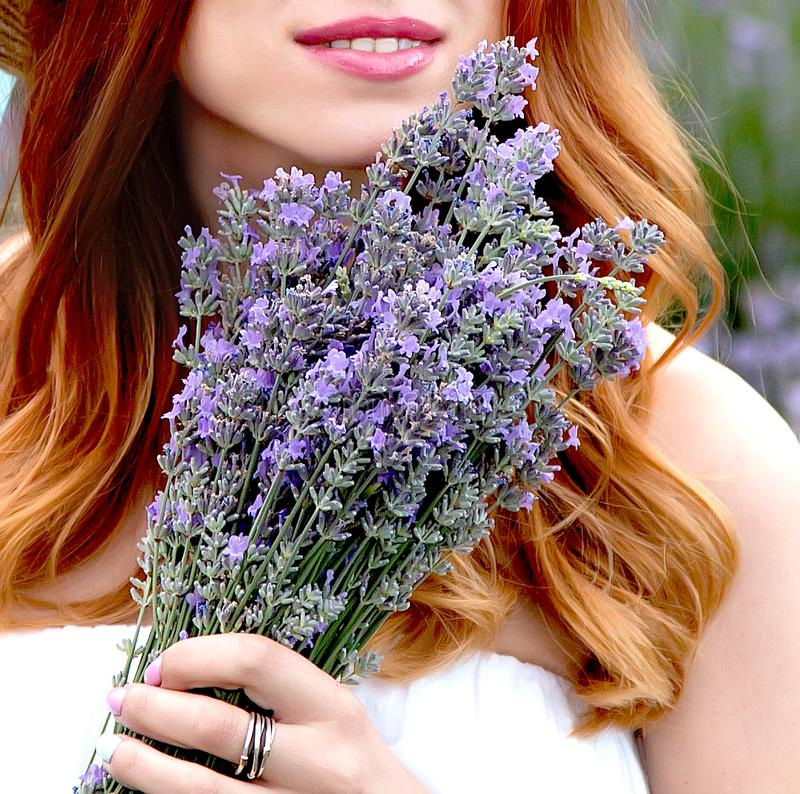 έγκυο κορίτσι lavender στο θερινό κήπο στοκ φωτογραφία με δικαίωμα ελεύθερης χρήσης