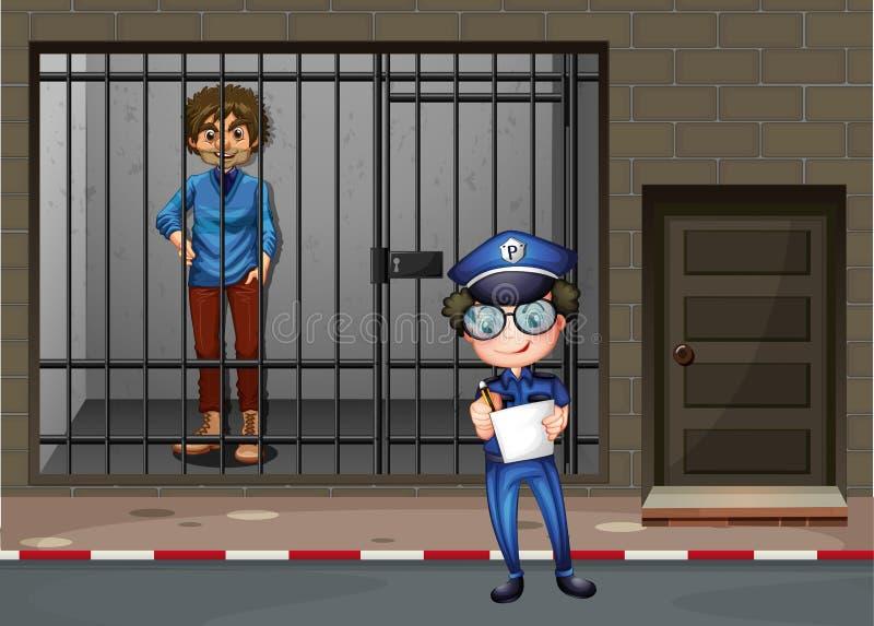 Έγκλημα και άτομο καταγραφής αστυνομικών στο κύτταρο απεικόνιση αποθεμάτων