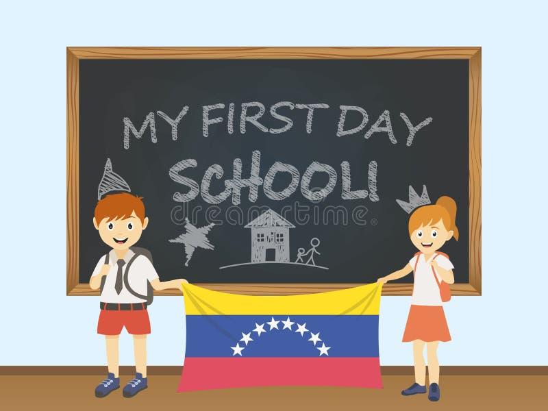 Έγχρωμα χαμογελώντας παιδιά, αγόρι και κορίτσι, που κρατούν μια εθνική σημαία της Βενεζουέλας πίσω από μια απεικόνιση σχολικών πι απεικόνιση αποθεμάτων