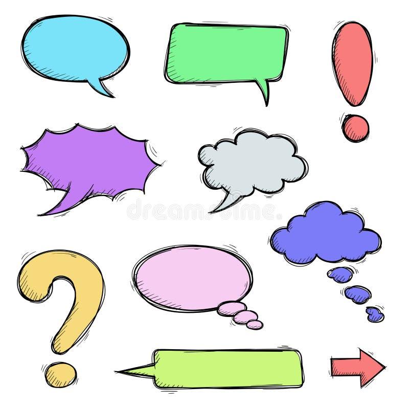 Έγχρωμες φυσαλίδες ομιλίας και σημεία στίξης Σκαρίφημα απεικόνιση αποθεμάτων