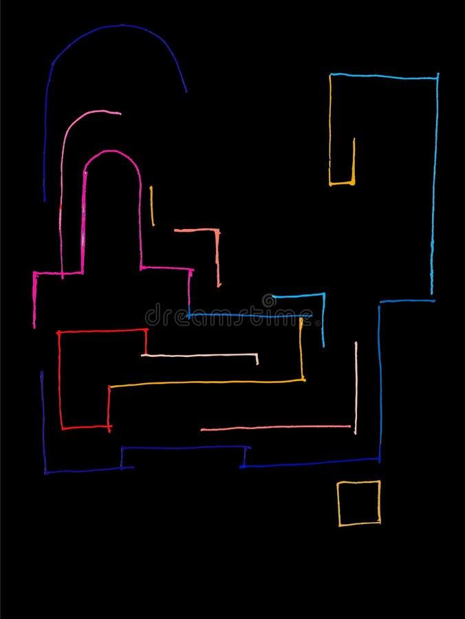Έγχρωμη αφηρημένη πόλη αρχιτεκτονικής lineart απεικόνιση αποθεμάτων