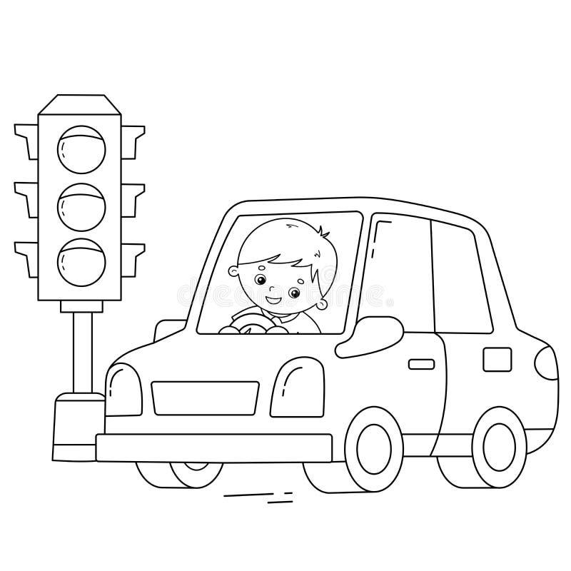 Έγχρωμη σελίδα Περίγραμμα καρτούν με οδηγό εν κινήσει Φωτεινός σηματοδότης Μεταφορά εικόνας ή όχημα για παιδιά Βιβλίο ζωγραφικής διανυσματική απεικόνιση