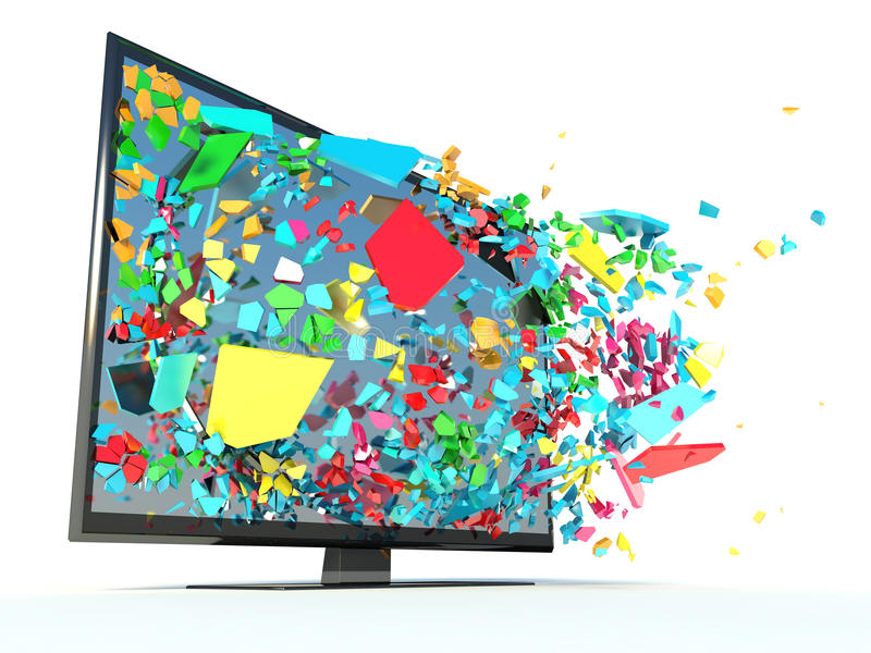 Έγχρωμος τηλεοπτικός δέκτης και θραύσματα διανυσματική απεικόνιση