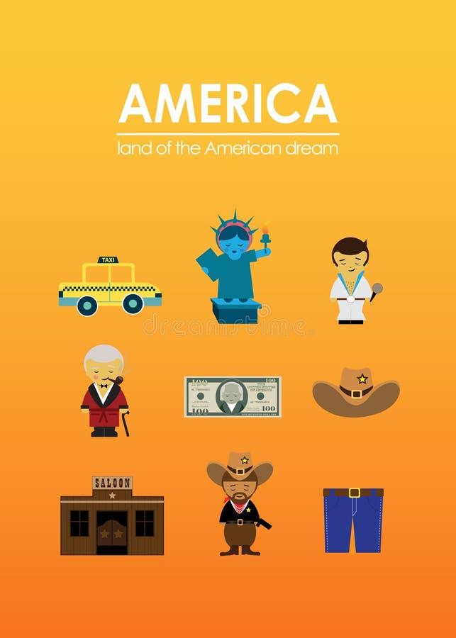 Έδαφος της Αμερικής του αμερικανικού ονείρου με τα μέρη των στοιχείων ελεύθερη απεικόνιση δικαιώματος