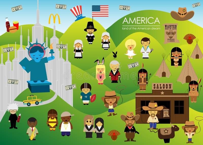 Έδαφος της Αμερικής του αμερικανικού ονείρου με τους ανθρώπους απεικόνιση αποθεμάτων