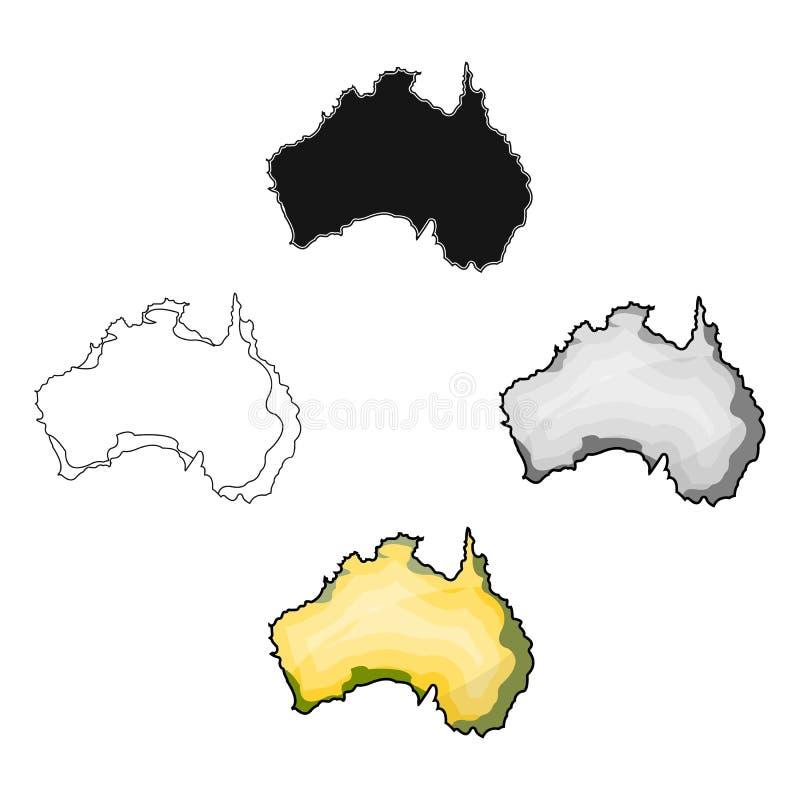 Έδαφος του εικονιδίου της Αυστραλίας στο ύφος κινούμενων σχεδίων που απομονώνεται στο άσπρο υπόβαθρο Διανυσματική απεικόνιση αποθ απεικόνιση αποθεμάτων