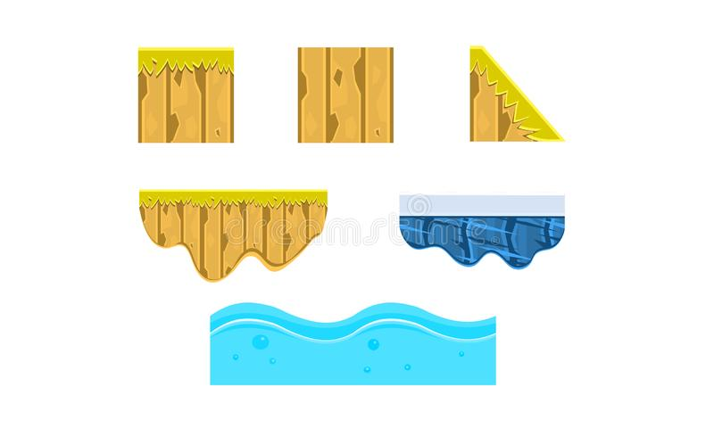 Έδαφος, χώμα, πάγος, νερό, επιφάνεια, περιβάλλον τυχερού παιχνιδιού, στοιχεία τοπίων, πλατφόρμες για τα κινητά παιχνίδια, προτερή διανυσματική απεικόνιση