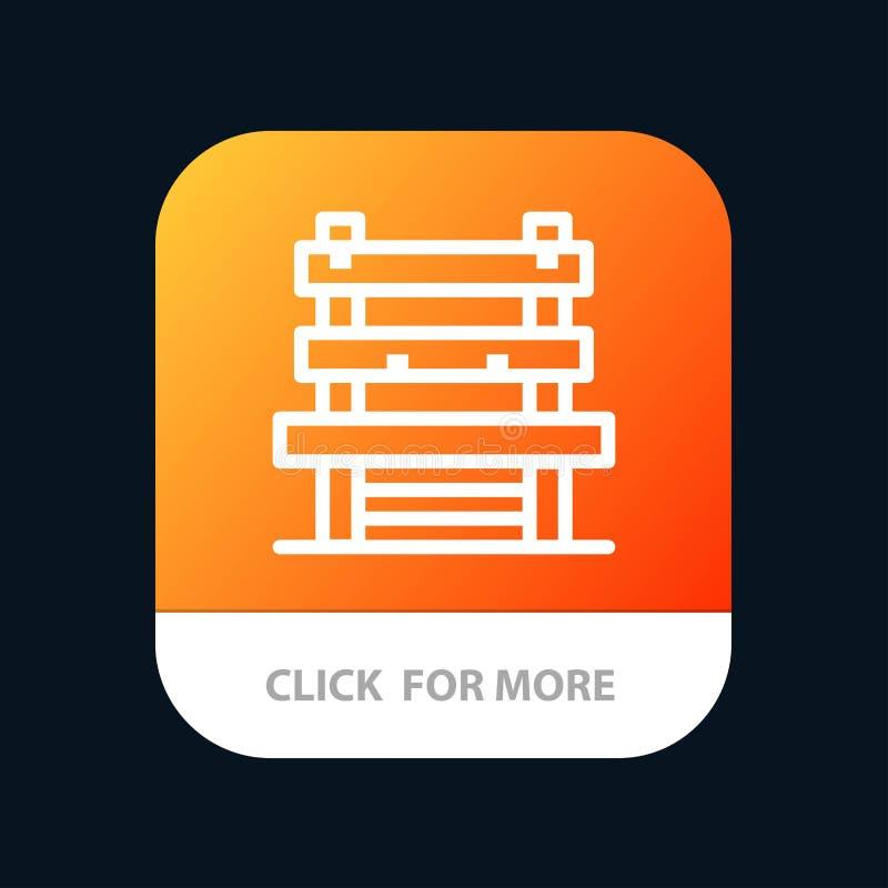 Έδρα, δωμάτιο, σταθμός, κινητό App κουμπί αναμονής Έκδοση αρρενωπών και IOS γραμμών απεικόνιση αποθεμάτων