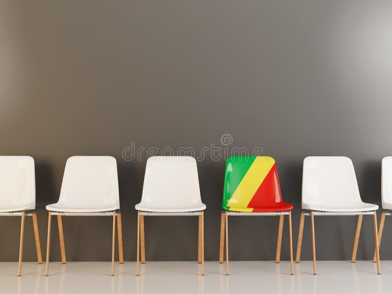 Έδρα με τη σημαία της δημοκρατίας του Κογκό διανυσματική απεικόνιση