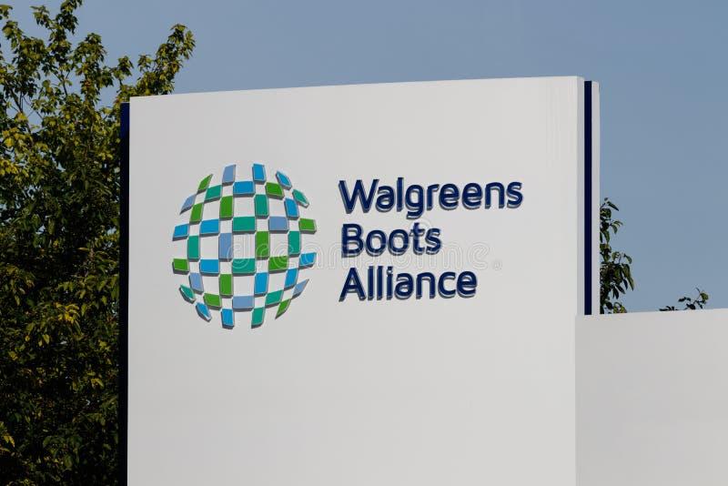 Έδρα συμμαχίας μποτών Walgreens Συγκεντρωμένα WBA φαρμακευτικά είδη ΙΧ μποτών Walgreens και συμμαχίας στοκ εικόνα με δικαίωμα ελεύθερης χρήσης