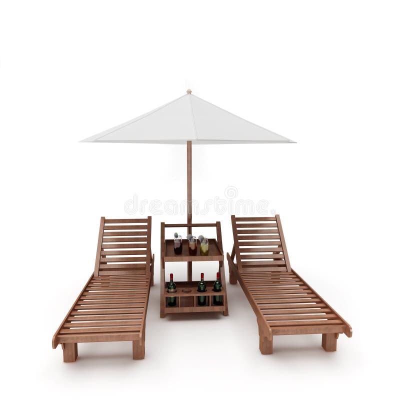 έδρες δύο ομπρέλα διανυσματική απεικόνιση