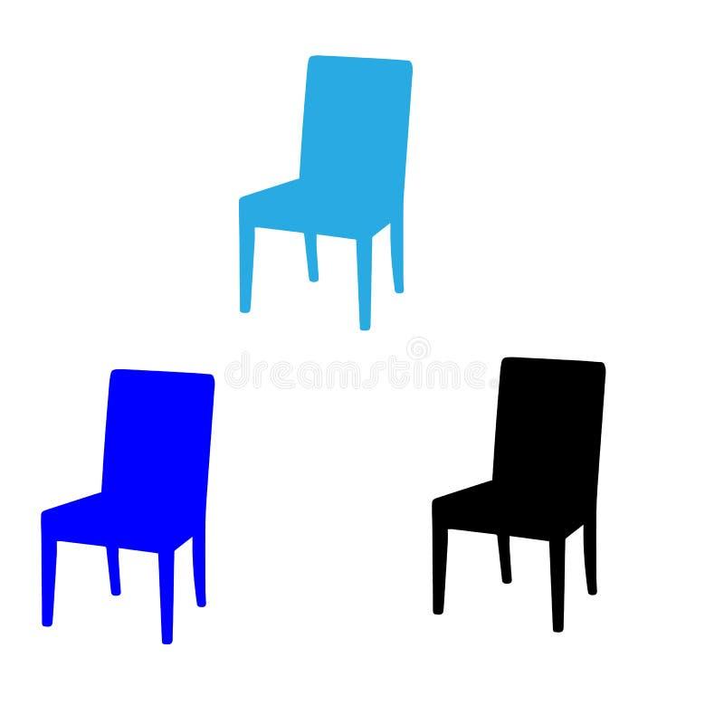 έδρες τρία Μπλε και μαύρες καρέκλες στοκ εικόνα με δικαίωμα ελεύθερης χρήσης