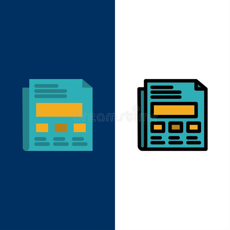 Έκθεση, έγγραφο, φύλλο, εικονίδια παρουσίασης Επίπεδος και γραμμή γέμισε το καθορισμένο διανυσματικό μπλε υπόβαθρο εικονιδίων διανυσματική απεικόνιση